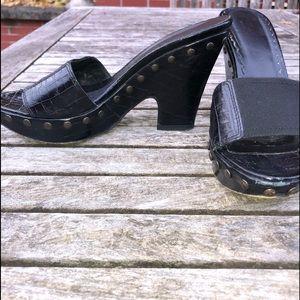 Donald Pliner Black Platform Sandals w/Brass Studs